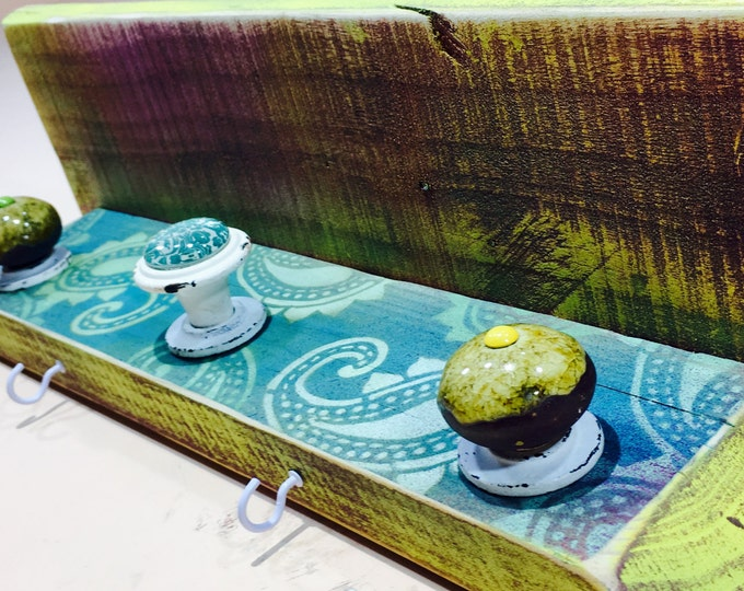 Floating shelves /pallet wood shelving reclaimed wood wall hanging shelf jewelry hanger/ Necklace holder teal paisley 3 knobs, 4 hooks