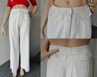 70s Highwaisted Off White Vintage Flare Pants // Cotton