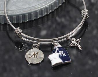Pharmacist bracelet, caduceus charm jewelry, initial charm bracelet gift, mortar & pestle rx bottle charm, pharmacist gift