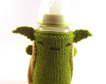 Knit Yoda Baby Bottle Cozy - Baby Bottle Cozy - Knitted Bottle Cover - Yoda Bottle Cover