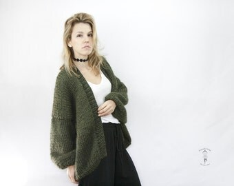 Chunky Knit Sweater - Oversized Green Cardigan - Women Knitted Cardigan - Knit Loose Sweater - Chunky Knit - Loose fit  - LILU Cardigan