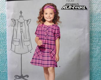 2010s New Look 6088 Sewing Pattern Children's Child's Girl's Project Runway Dress Flutter Sleeves Pockets Size 3-4-5-6-7-8