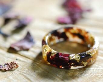 Poppy Flower Ring, Botanical Resin Ring, Magic Ring, Jasmine Nature Flower Ring, Wedding Ring, Boho Resin Ring, Floral Ring, Romantic ring