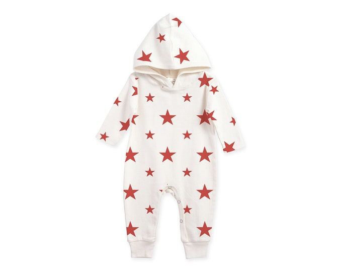 Baby 4th of July Outfit, Newborn Hoodie Coming Home Outfit, Baby Hooded Romper, Baby Hoodie Unisex Romper Red Stars, Tesababe RP81HSSIY0000