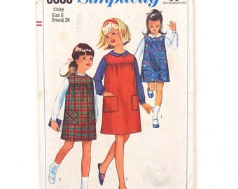 Vintage 60's Girls' Blouse and Jumper Sewing Pattern #6600 - Size 6 (Breast 24)
