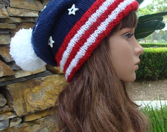 4th of July Beanie - Patriotic Knit Beanie with striped brim, Pom-pom and star buttons, Size Teen/Adult - (Flat Stars)