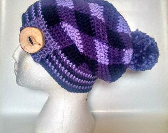 wood button tartan gingham crochet slouch hat big pompom faux fur ready to ship