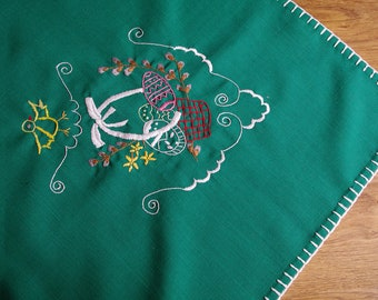 Hand embroidered Easter floral traycloth Polish table decoration Flowers Embroidery Green White dresser scarf chicken eggs basket catkins