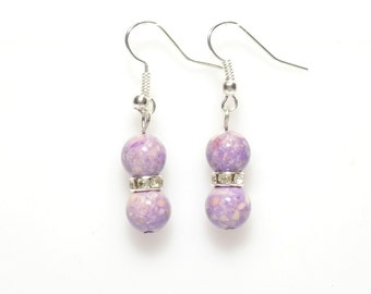 Earrings, Silver earrings, purple earrings, stone earrings, purple riverstone earrings, bridesmaid earrings, dangle earrings, drop earrings