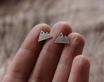 Mountain Earrings. Post earrings. Stud earrings. Outdoors. Nature. Geometric.