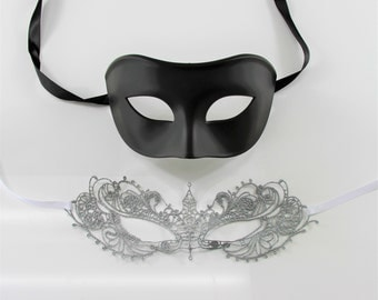 Couples Lace and Plastic Mask, Silver Lace Woman's Mask with Black Plastic Men's Mask, Fifty Shades Darker Style Couples Mask