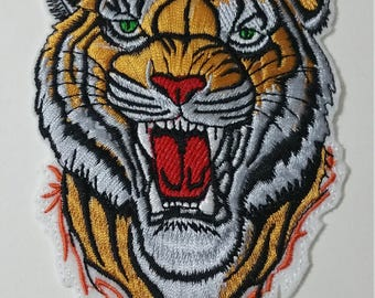 Large/Extra large tiger head iron on or sew on patch  tiger patch Tiger iron on patch Animal patch Tiger applique