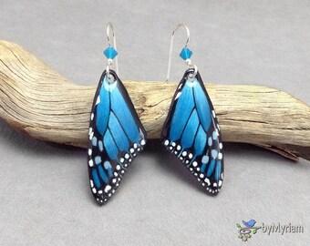 Fantasy teal blue Monarch butterfly wing earrings , hand drawn blue butterfly wings , sterling silver, Austrian crystals.  Monarch wings