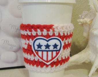 America Cup Cozy, Crochet Sleeve, Drink Holder, Hot or Cold Beverage, Patriotic, 4th of July, Birthday Gift, Cup Warmer, Party Favor, Feltie