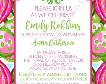 Lilly Pulitzer Baby Shower Invitation- Personalized -Digital File or Printed Invitation- Double Sided