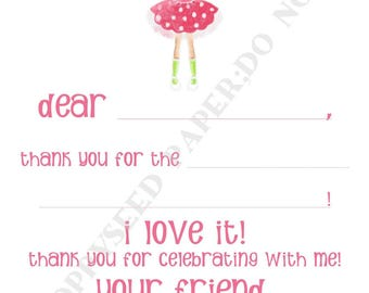 Princess Fill In Thank You Notes- Kids- Children- Stationery- Birthday Party