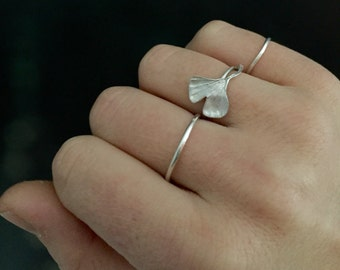 Ginkgo leaf ring | silver ginkgo leaf | gingko ring | solid sterling silver ring