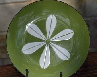 """Vintage Norwegian Green & White Lotus Cathrineholm Enamel Large 10 1/4"""" Platter,  GRETE PRYTZ KITTELSEN Designer, Vintage 1960's"""