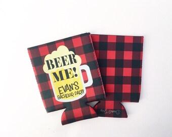 Beer Me  Buffalo Plaid Beer Mug Bachelor Party/Wedding Beverage Insulator/Hugger