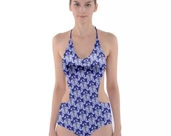 Star Wars Swimsuit, Side Cut Out One Piece R2-D2 Swimsuit, Artoo Bathing Suit, Star Wars Monokini, Beep Boop Swimsuit
