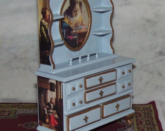 1:12th Dollhouse China Cabinet Hutch.  Painted and Decoupaged.  Vermeer Paintings.  Pale Blue. Bespaq Hutch.