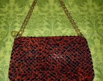 Vintage Whiting & Davis Red and Black Enamel Mesh Shoulder Bag Purse