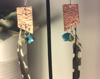 badland copper, turquoise, and feather dangles