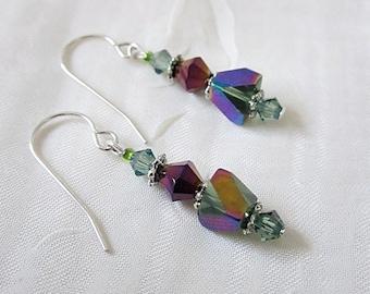 Multi-Color Earrings, Hex-Cut Green/Purple Earrings, Verigated Green & Purple Dangles, Crystal Jewelry,  Iridescent Green- Purple Dangles