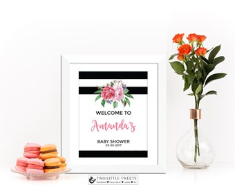 Printable Black and white stripes floral baby shower welcome sign - Kate Baby shower welcome sign - spring baby shower - black and white 006