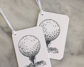 10 Golf Gift Tags with Ties