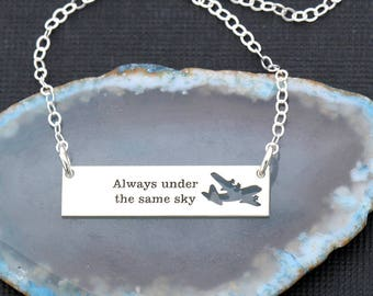 SALE • Military Deployment Gift • Airplane Air Force Pilot Jewelry Air Force Gift • Military C-130 Always Under the Same Sky Military Wife