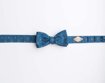 Blue and Red Bow Tie, Polka Dot Bow Tie, Chambray bow tie, Blue Cotton Bow tie, Cotton Bow Tie, Denim Dot bow Tie, Manhattan Dot Bow Tie