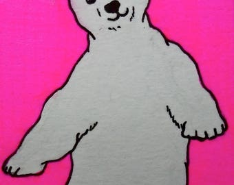 "Oh, Polar Bear #222 (ARTIST TRADING CARDS) 2.5"" x 3.5""  by Mike Kraus Free Shipping!"