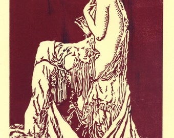 1920's Seated Lady Lino Cut