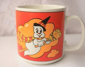 Letfton Halloween Mug marked 1987, Vintage Lefton Mug,  Halloween Collectible, Ghost on Broom Mug, Lefton China Mug, Lefton 06423