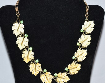 Vintage Lisner Necklace, 1960s, White Oak Leaves with Rhinestones, Thermoset Lucite