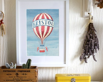 A4 Giclee Print 'Bristol Balloon' Illustration, Signed and Editioned by the Artist