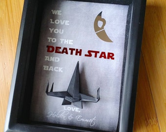 Star Wars Fathers Day Gift From Wife, Fathers Day Gift From Kids, Fathers Day Gift From Baby, We Love You To The Death Star, 5X7 Shadowbox.