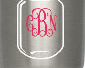 Mason Jar Decal, Mason jar Monogram Yeti Decal, Car Decal, Laptop Decal, Phone Decal