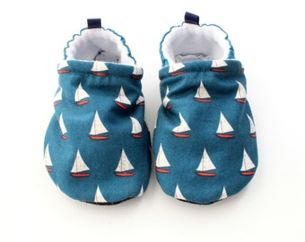 Baby First Walkers Soft Soled Baby Shoes - vintage yachts -  baby shoes, Soft Sole Baby Shoes, Fabric Baby Booties, boys shoes