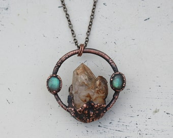 Raw Electroformed Smoky Fenster Quartz Crystal  & Labradorite Hoop Circle Bohemian Gypsy Pendant/Necklace