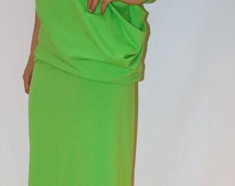 Maxi Dress/ Asymmetrical Maxi Tunic/ Stripe Dress/ Kaftan/ Summer Dress/Cotton Dress/F1191