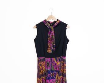 Vintage 70s Psychedelic Floral Print Boho Hippie Maxi Dress Size M