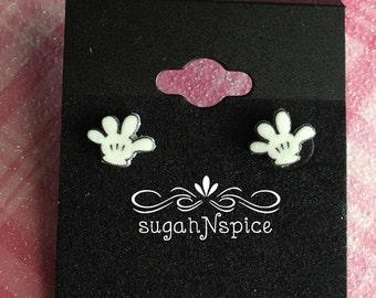 Mickey Mouse Earrings - Mickey Earrings - Mouse Earrings - Mickey Mouse Posts  -  Mickey Gloves Earrings - Mickey Mouse Gloves Earrings