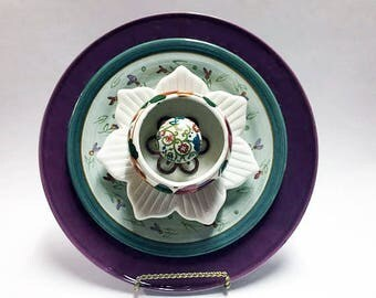 Dish Plate Flowers  - Yard Art Garden Decor - Glass Garden Flower - Garden Art - Plate Flowers - Glass Flower - Outdoor Decor - Garden Decor