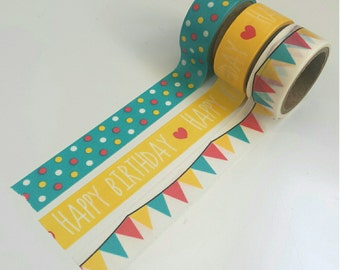 Happy Birthday - washi tape set (3 rolls)