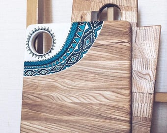 Cheese Board, Serving board, Cutting board, wooden chopping board with Aztec print, Handpainted Wooden Placemat Gift Housewarming