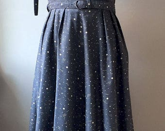 Vintage Late 1940s Airforce Blue Spotty Dress