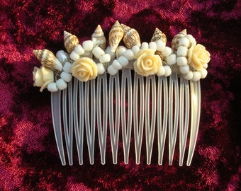 Seashell Hair Comb / Boho Gypsy Wedding Hair Comb / Fairy Goddess Hair Comb / Gemstone Hair Accessory / Mermaid Hair Accessory