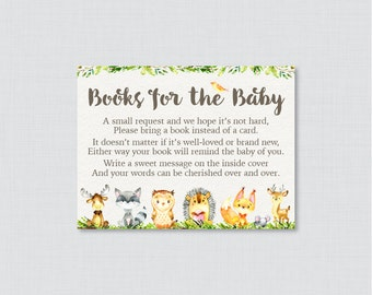Woodland Animal Baby Shower Printable Bring A Book Instead Of A Card  Invitation Inserts, Woodland